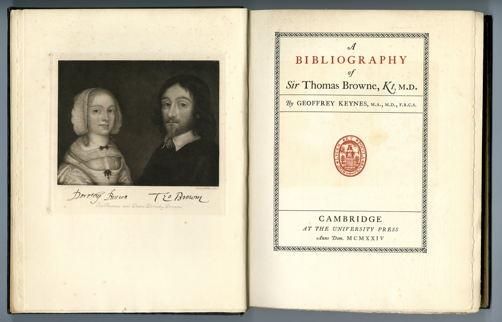 A BIBLIOGRAPHY OF SIR THOMAS BROWNE title