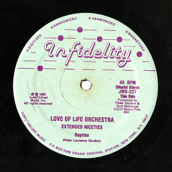 Love Of Life Orchestra『Extended Niceties』(1980年、Infidelity、JMB-227)This Sideのラベル
