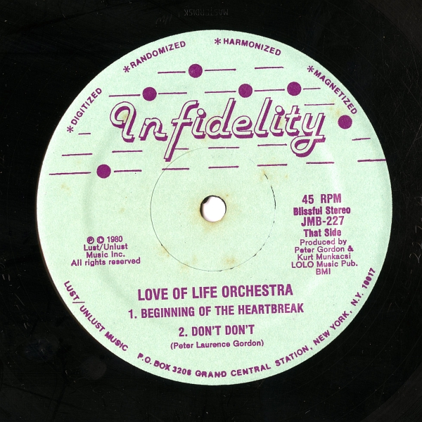 Love Of Life Orchestra『Extended Niceties』(1980年、Infidelity、JMB-227)That Sideのラベル