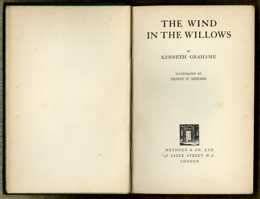 Kenneth Grahame『The Wind In The Willows』 1931年第38版口絵と扉