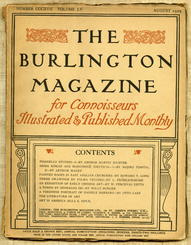 『Burlington Magazine』1929年8月号の表紙