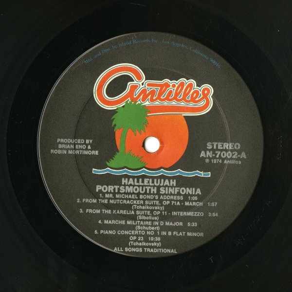 Portsmouth Sinfonia『HALLELUJAH』(1974年、Antilles Records)side 1 ラベル