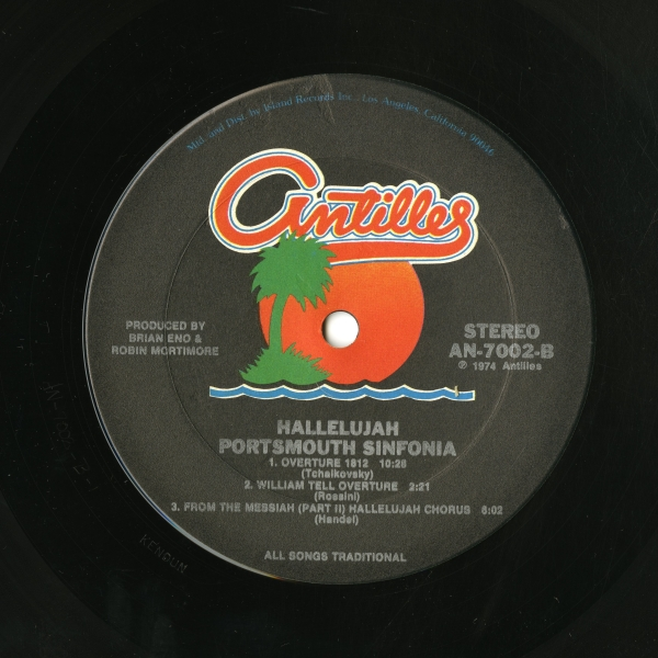 Portsmouth Sinfonia『HALLELUJAH』(1974年、Antilles Records)side B ラベル