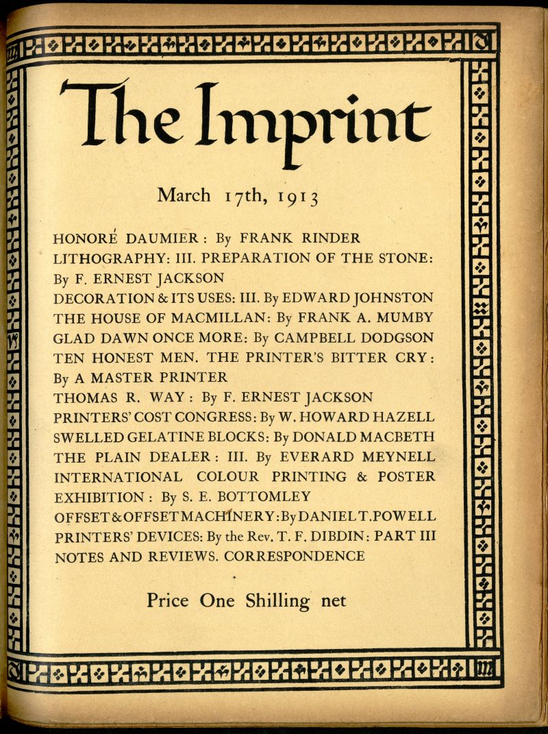 『The Imprint』March 17, 1913 第1巻第3号表紙