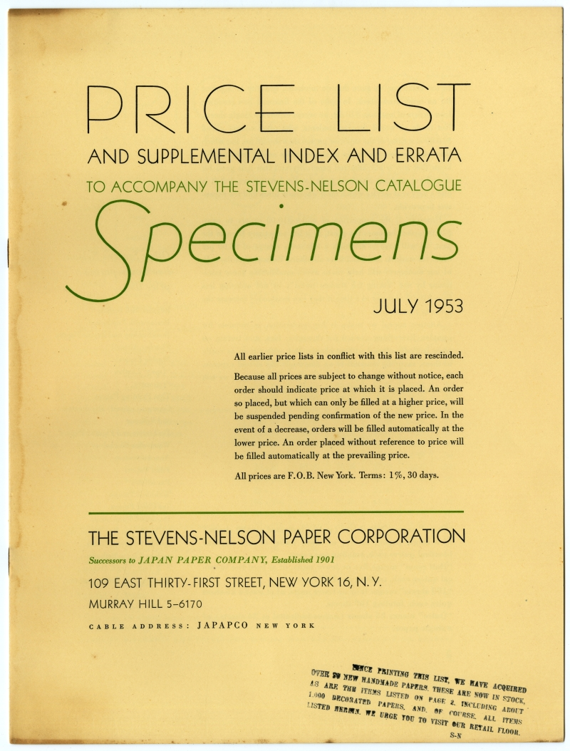 THE STEVENS-NELSON PAPER CORPORATION Price List