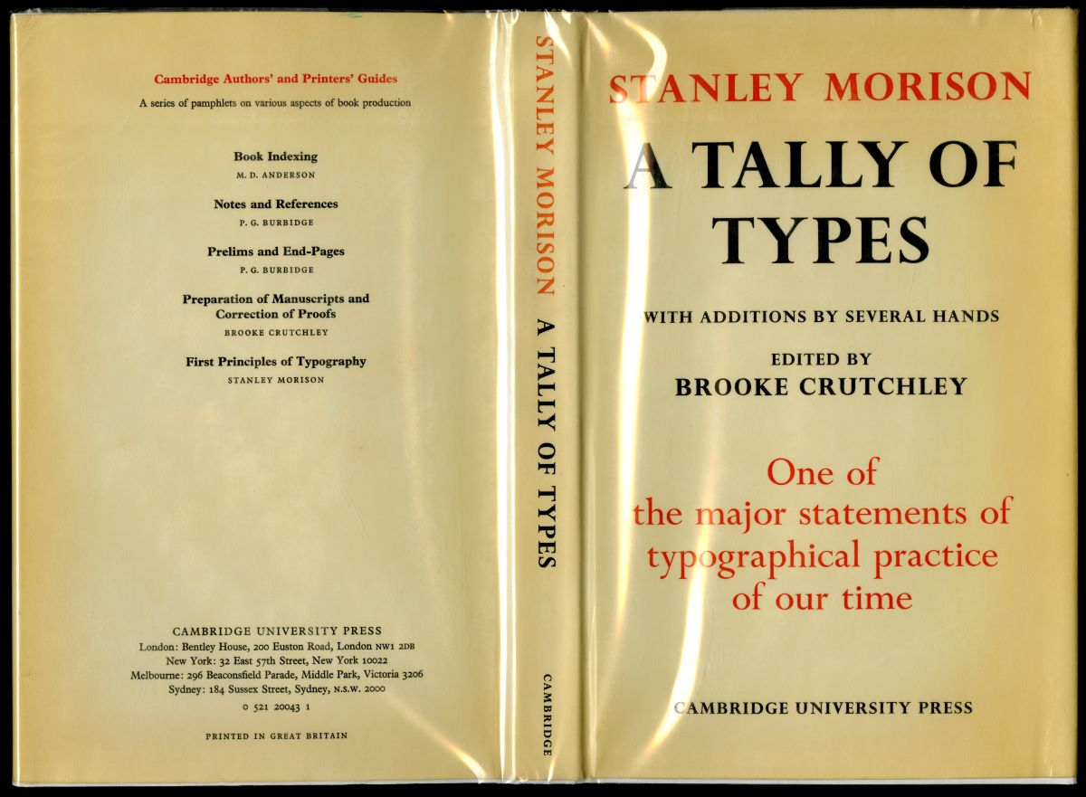 『The Tally Of Type』(1973年、CUP)カヴァー
